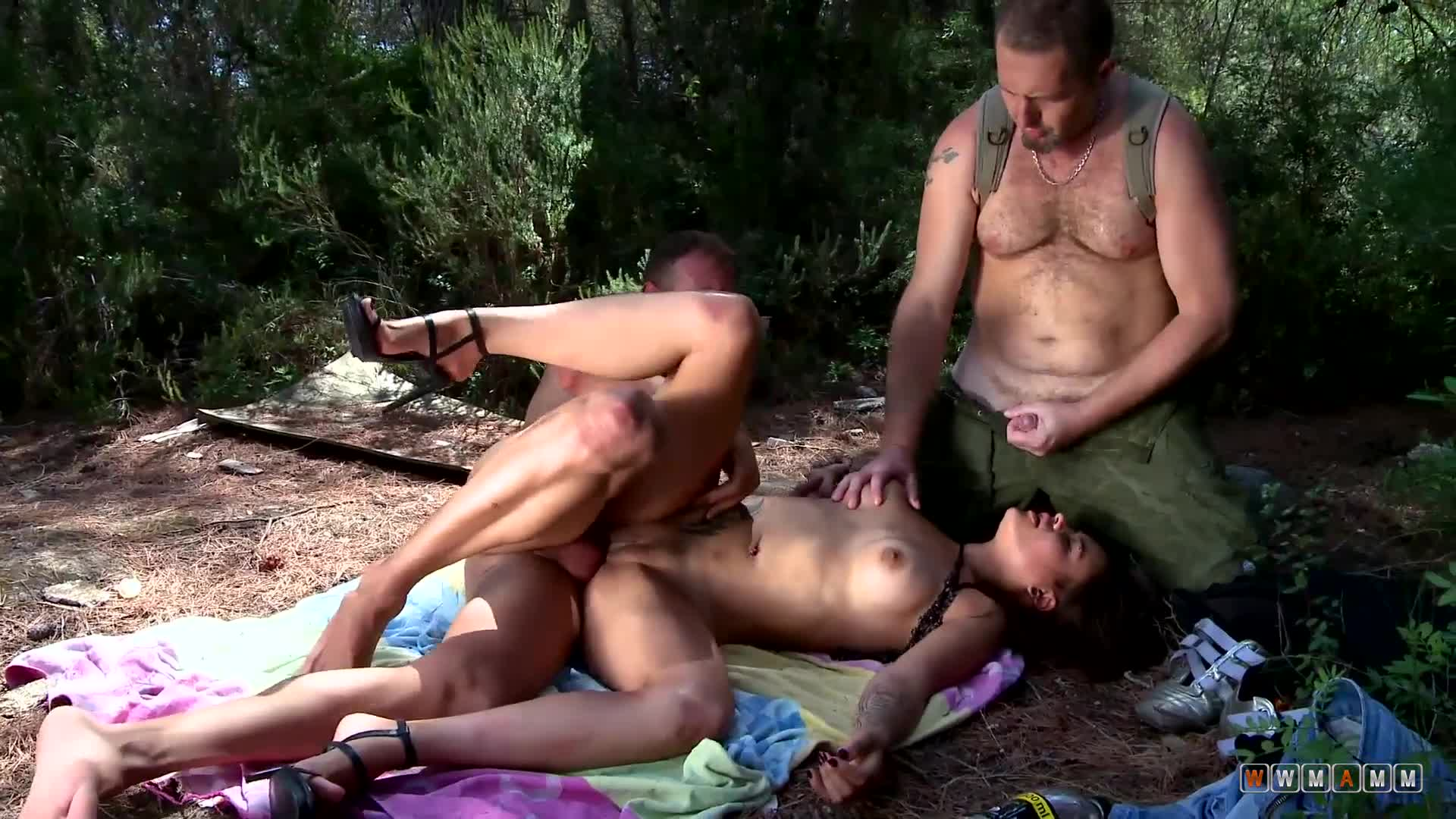 Tattooed Alice Axx Ravaged In Forest Fuck Turned Rough Threesome