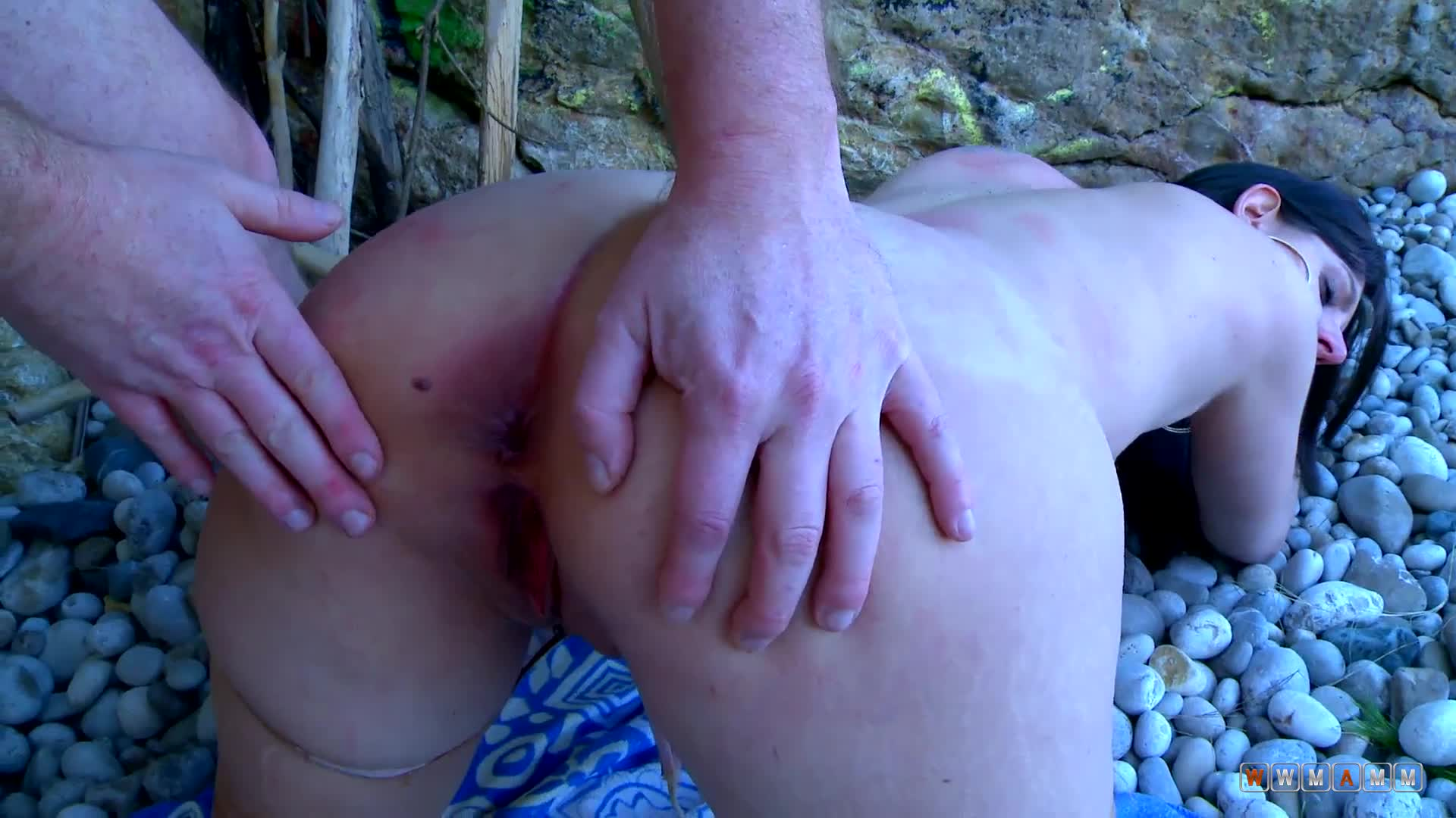 Girl With Enormous Boobs And Enormous Ass Gets Fucked Outside