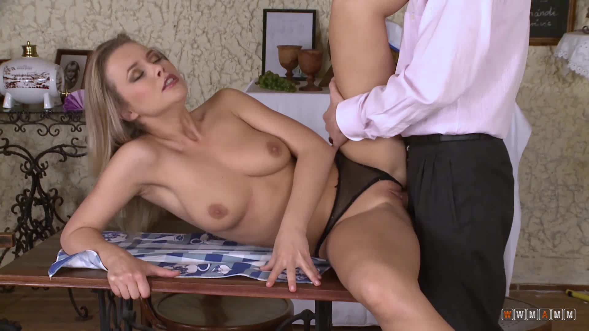 Busty Milf Takes Waiter's Fat Cock Right There On The Table