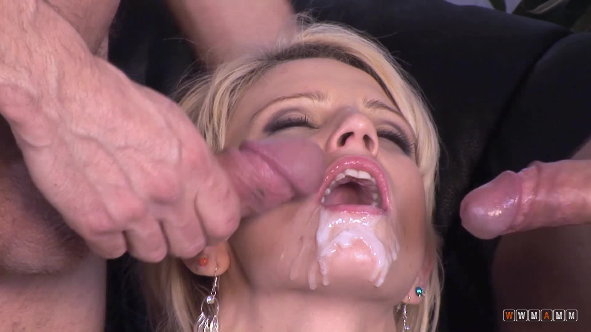 Two Big White Cocks Destroying Sunny's Wet Shaved Pussy