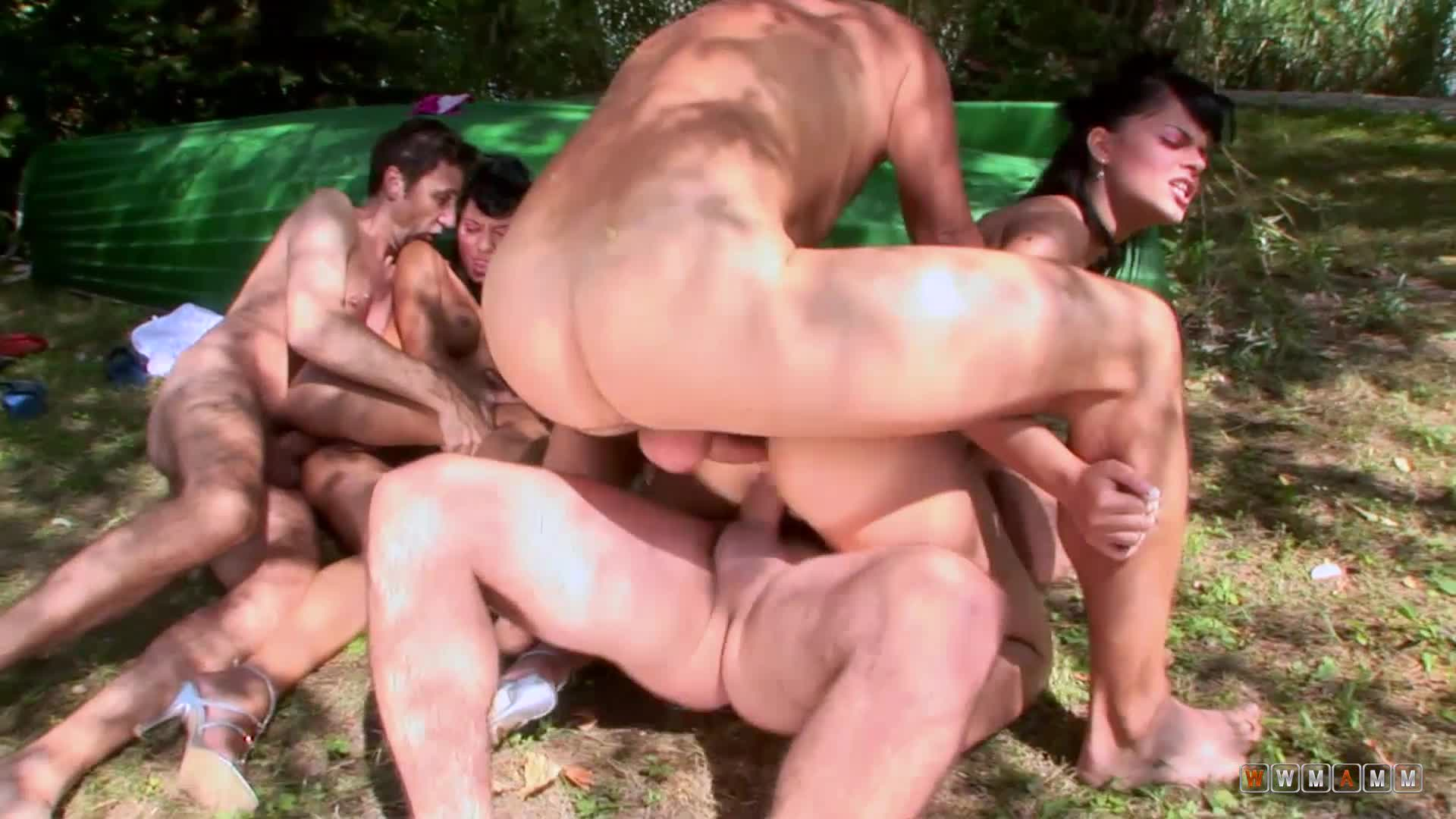 Public Gangbang With Two Sexy Girls And Three Random Strangers