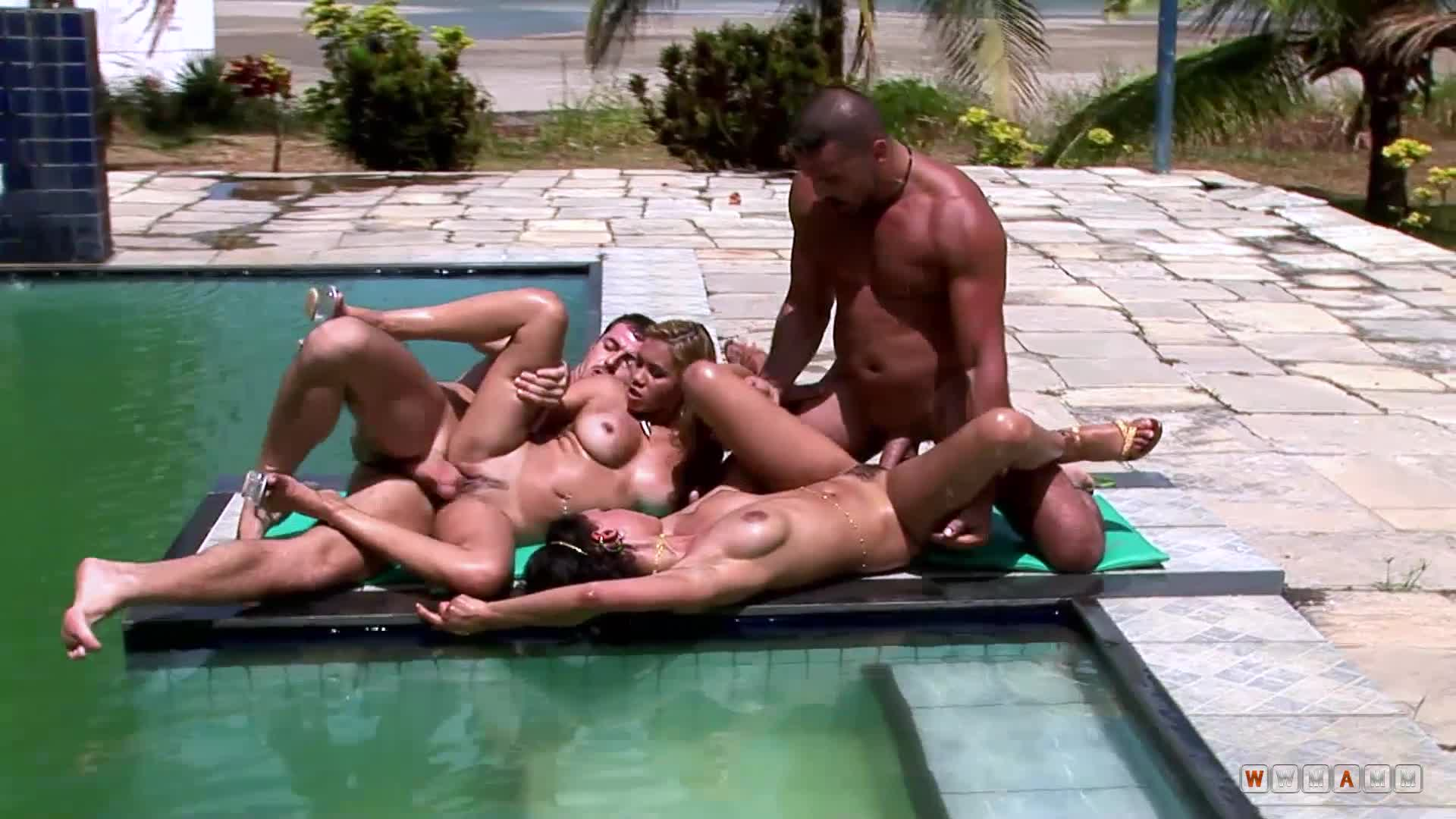 Two Best Friends Meet Horny Bitches And Fuck Them By The Pool
