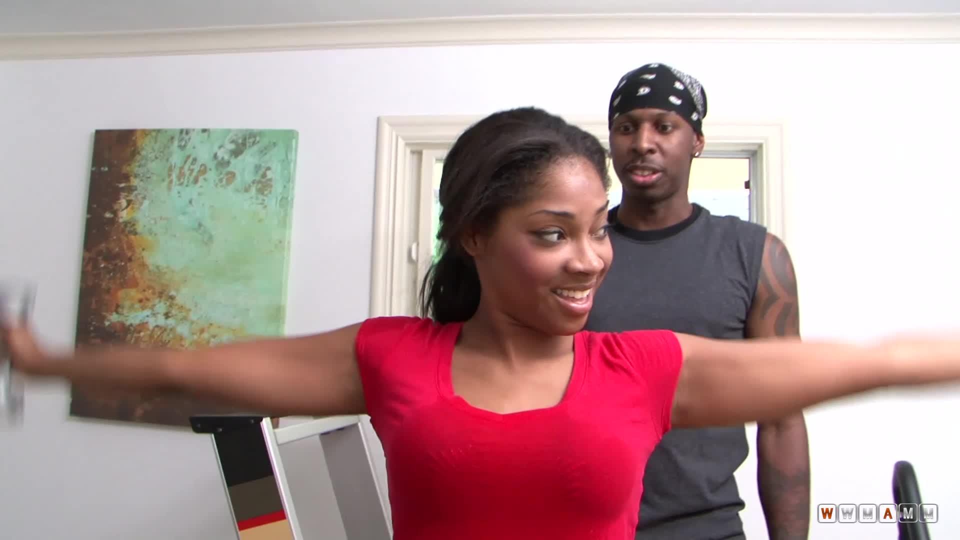 Cute Ebony Girl Is Getting Seduced By Her Older Gym Coach