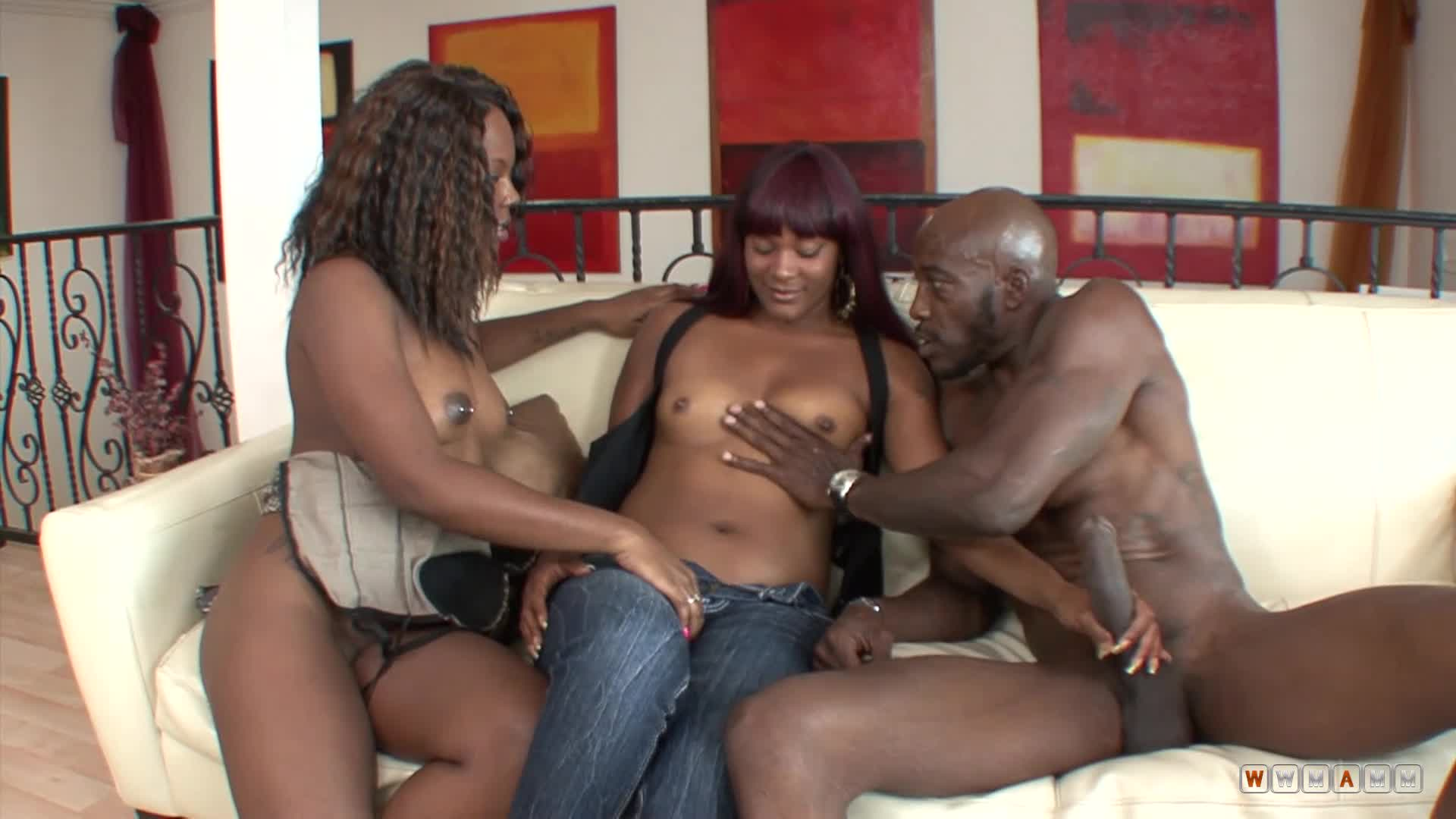Two Little Ebony Sisters Enjoying Daddy's Big Black Cock