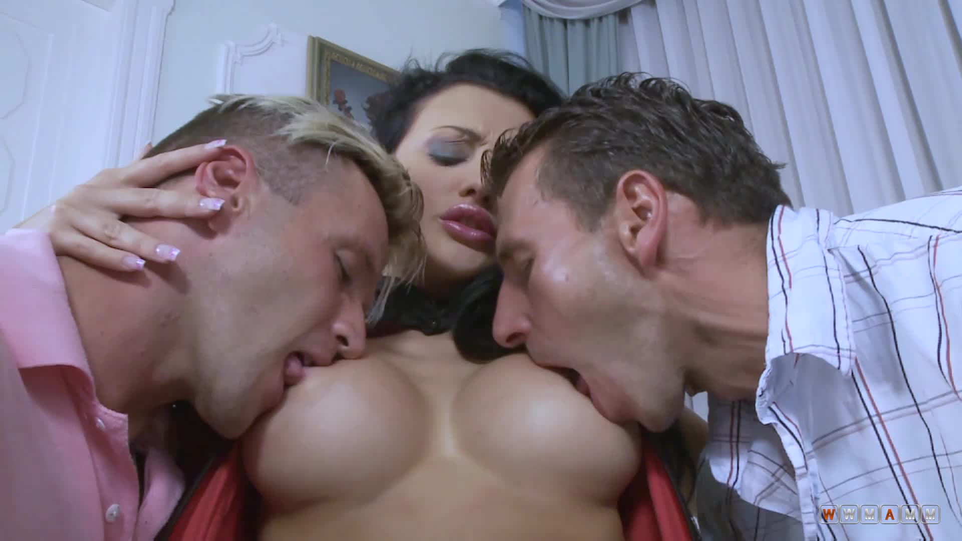 She Used Her Huge Fake Tits As A Bate For Two Horny Guys