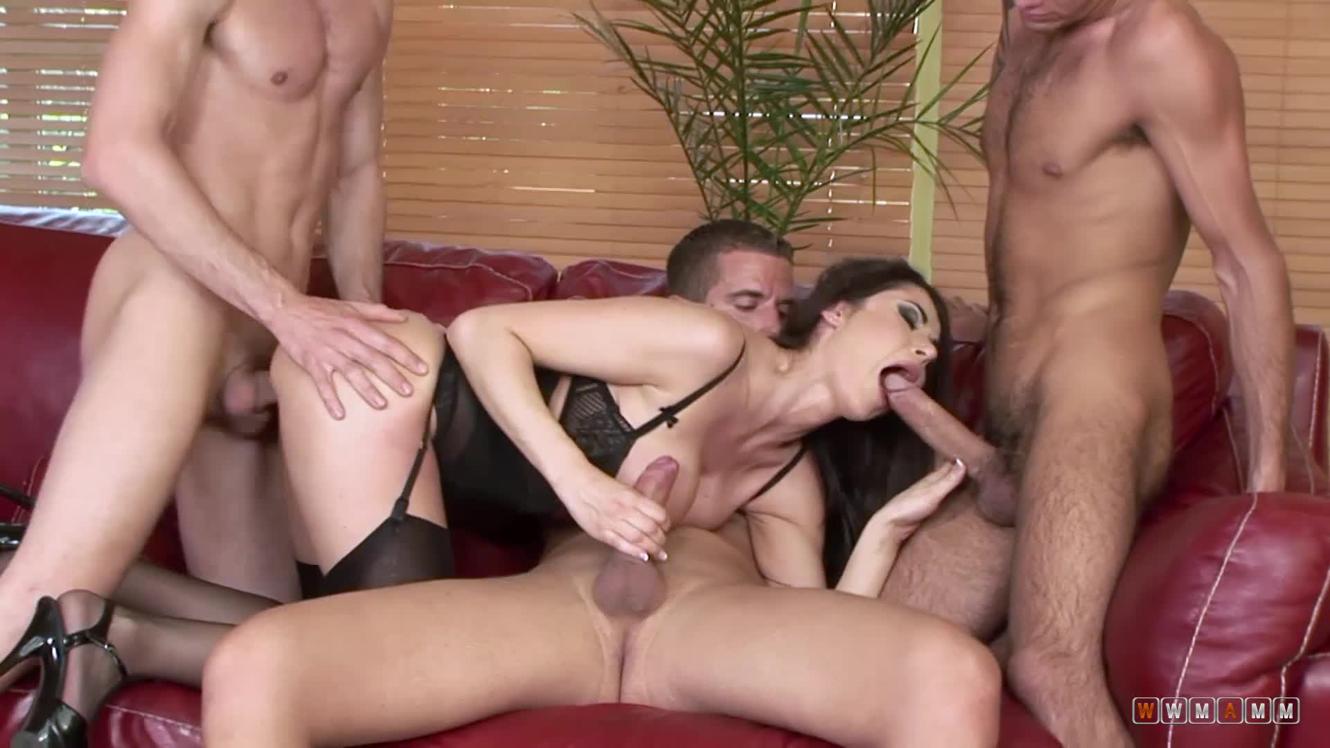 Busty Milf Got Her Holes Attacked By Three Cocks From Every Angle