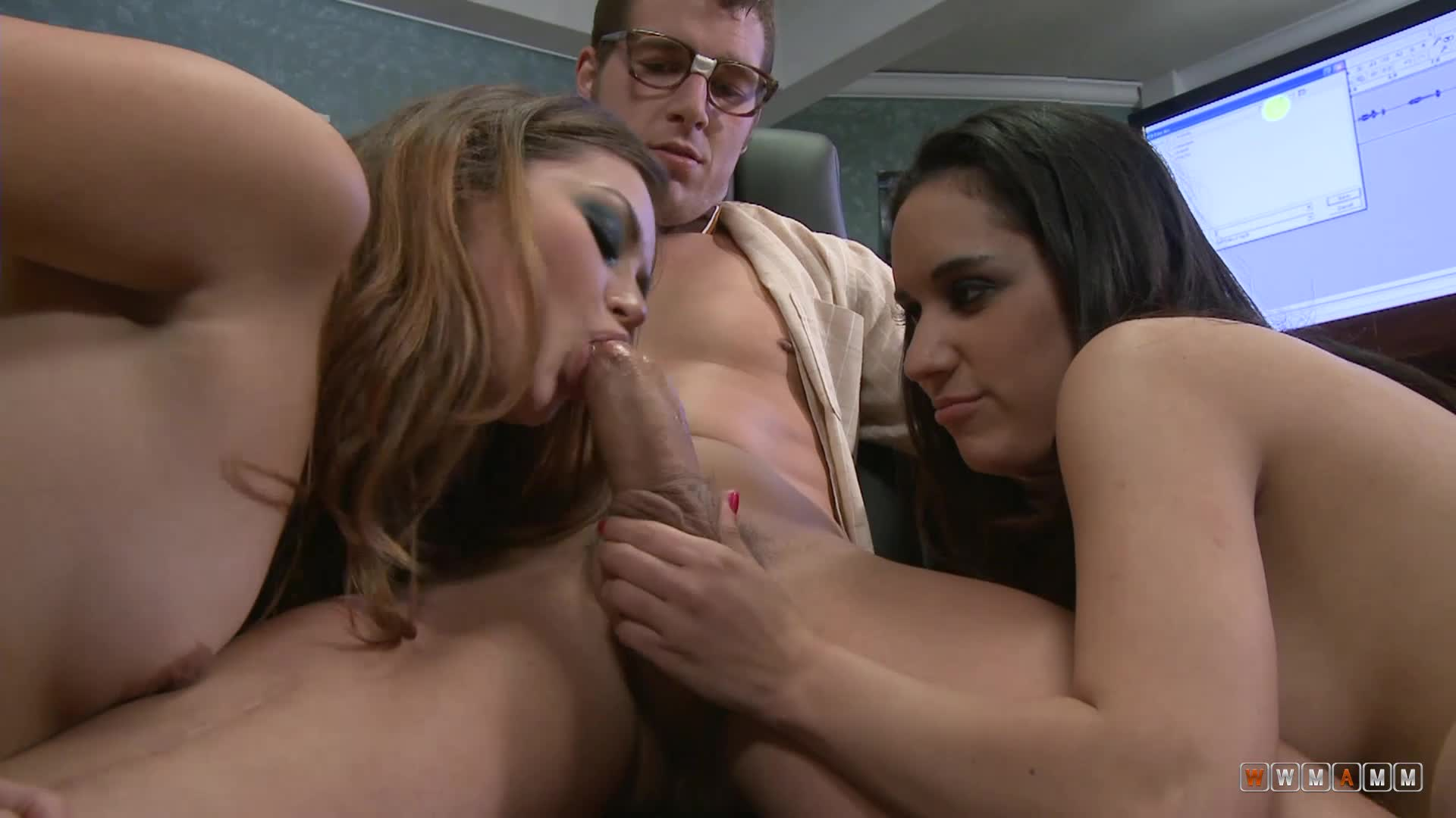 Two Naughty Babes Will Make One Guy His Best Day At The Office