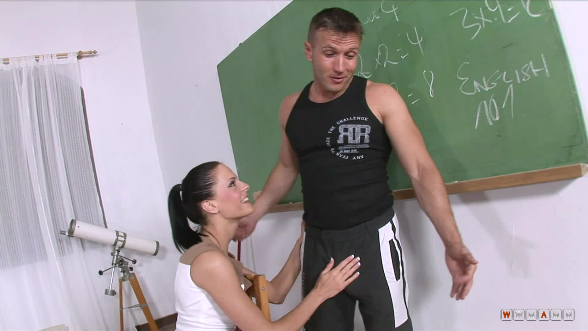 Naughty Professor Molesting The Guy While Cleaning Her Classroom